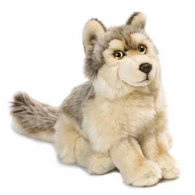 Zittende knuffel wolf kopen