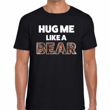 Zwart hug me like a bear fun t shirt heren kopen