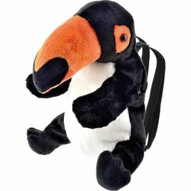 Zwarte toekan vogel rugzak/rugtas knuffels knuffeldieren kopen