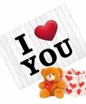 I love you wenskaart valentijnskaart knuffelbeer rood sjaaltje kopen
