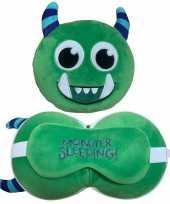 Monster knuffel kussen slaapmasker kinderen kopen