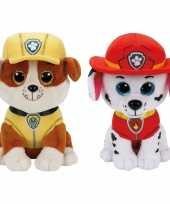 Paw patrol knuffels set karakters rubble marshall kopen