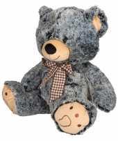 Pluche beer knuffeldier grijs zwart kopen