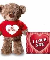 Valentijn be mine hart knuffelbeertje rood ansichtkaart kopen