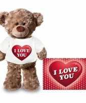 Valentijn i love you hart knuffelbeertje ansichtkaart kopen