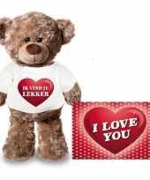 Valentijn ik vind je lekker hart knuffelbeertje ansichtkaart kopen