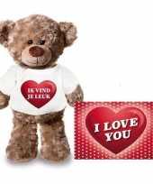 Valentijn ik vind je leuk hart knuffelbeertje ansichtkaart kopen