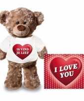 Valentijn ik vind je lief hart knuffelbeertje ansichtkaart kopen