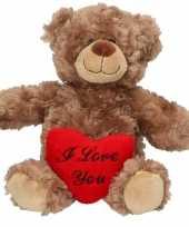 Valentijnscadeau bruine knuffelbeer hartje kopen
