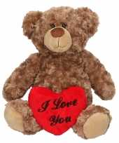 Valentijnscadeau bruine knuffelbeer xl hartje kopen