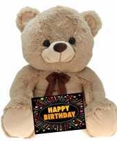 Verjaardagcadeau beren knuffel beige gratis verjaardagskaart kopen