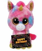 Verjaardagcadeau eenhoorn knuffel ty beanie gratis verjaardagskaart kopen