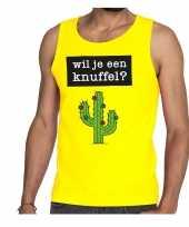 Wil je een knuffel fun tanktop mouwloos shirt geel heren kopen