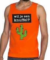 Wil je een knuffel fun tanktop mouwloos shirt oranje heren kopen