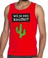 Wil je een knuffel fun tanktop mouwloos shirt rood heren kopen